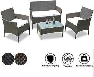 1 Divano Tavolino 2 Sedie con Cuscini 1 Panca TecTake Set di Mobili da Giardino in Polyrattan Marrone