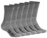 FUN TOES Men's Hiking Crew Merino Wool Socks 6 Pairs Lightweight, Reinforced Size 8-12 (Black)