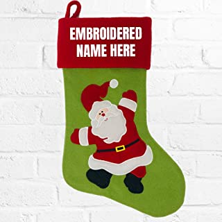 PLACE4PRINT Personalized Embroidered Christmas Stocking - Santa Snowman Red & White (Santa)