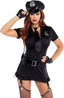 Leg Avenue Women's 6pc. Dirty cop incl hat, Dress, Gloves, Belt, tie & walkie Talkie, black, Medium/Large