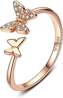 Sterling Silver Cute Butterfly Open Rings for Women Girls Adjustable Birthstone Crystal Dainty Animal Statement Promise En...