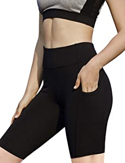 AJISAI Womens 8.5 inches Pro Compression Yoga Running Workout Biker Shorts Spandex Athletic Tights