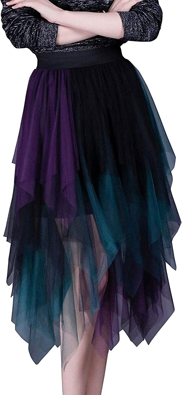 Women's Irregular Layered Tulle Tutu Party Midi Skirt Contrast Color