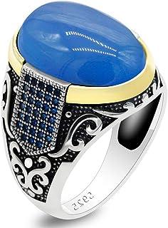 خاتم من الفضة الاسترليني عيار 925 من دينو للرجال من حجر العقيق الأزرق صناعة تركية مصنوعة يدوياً من الفضة خاتم عتيق فاخر عتيق