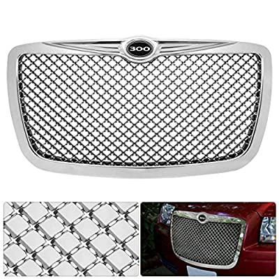 AJP Distributors Upgrade Replacement For 300 300C Logo Emblem Badge Chrome Diamond Mesh Front Hood Bumper Grille Grill Replacement Upgrade