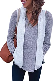 NVXIYYA Women's Zip up Faux Fur Sherpa Fleece Vest Fall Warm Cardigan Waistcoat with Pockets