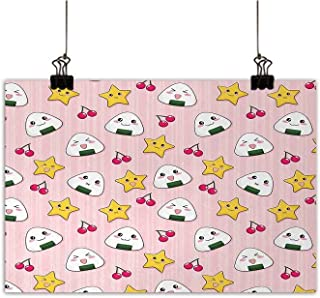 Anime Canvas Wall Art for Bedroom Home Decorations Happy Crying Cute Cartoon Rice Balls Cherries Stars Pattern on Stripes Art Print On Canvas for Wall Decor Pink Yellow and White W32 x H24