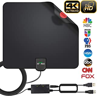 HDTV Antenna, 2019 Newest Indoor Digital TV Antenna 130 Miles Range with Amplifier Signal Booster 4K HD VHF UHF Freeview for Life Local Channels Support All Television -16.5ft Coax Cable