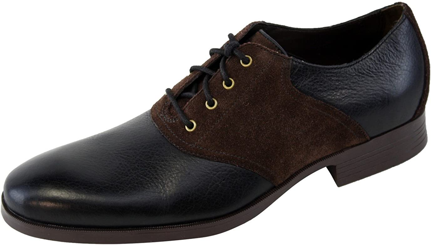 Cole Haan Copley Saddle Ox Oxford Black/Chestnut Brown Leather Mens Shoes