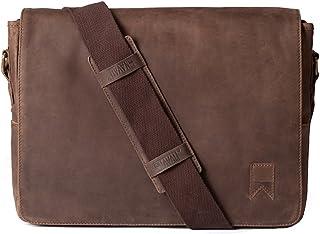 Navali Mainstay Laptop Umhängetasche Vintage Messenger Bag aus echtem Wild-West-Leder – Braun