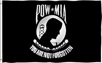 Anley Fly Breeze 3x5 Foot POW MIA Flag - Vivid Color and UV Fade Resistant - Canvas Header and Double Stitched - You are Not Forgotten Prisoner of War Flags Polyester with Brass Grommets 3 X 5 Ft