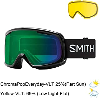 Smith Snow Goggle RO2CPGB19 Unisex Black Naylon Frame Sun Platinum Chromapop Green Mirror Polarized Sunglasses