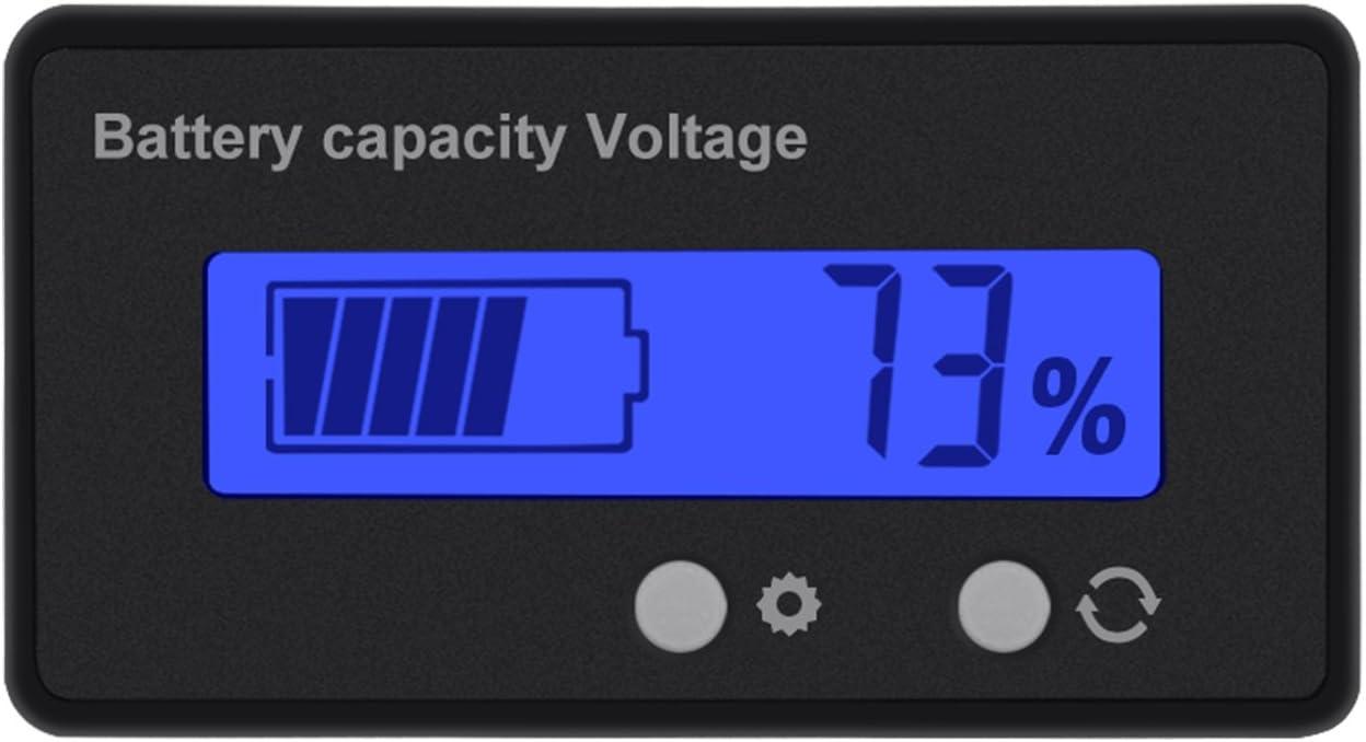 12V 24V Wovatech LCD Battery Capacity Monitor 48V Lithium Battery Capacity Tester Green Backlight 36V Waterproof Multi-function Meter Battery Capacity Voltmeter Meter Monitor