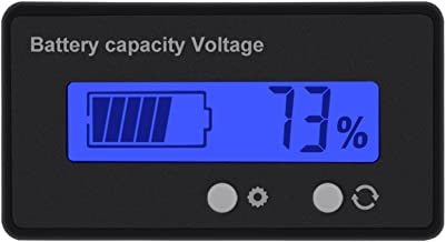 DC 6-63V Digital Battery Capacity Tester, Voltage Capacity Percent Meter Battery Indicator 12V/24V/36V/48V Monitor Blue Backlight for Lithium Batteries and Lead-acid Batteries