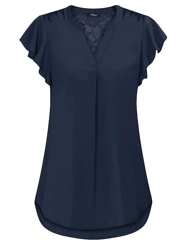 iClosam Women's Notch V Neck Short Sleeve Chiffon Blouse Casual Lace Top Shirts mn947090762