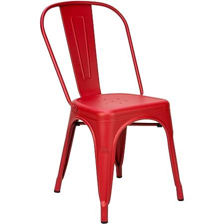 Vaukura Silla Oliix - Silla Industrial Metálica Mate (Rojo)