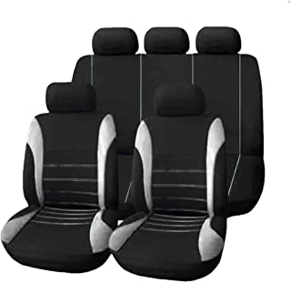 9pcs Universal PVC Car Seat Cover Cloth Art Auto Interior Decoration Protect Covers for Four Seasons (grey)