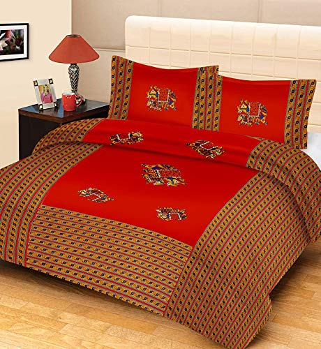 Urban Trends Rajasthani 100% Cotton Jaipuri Patchwork Traditional King Size Bedsheet with 2 Pillow Cover