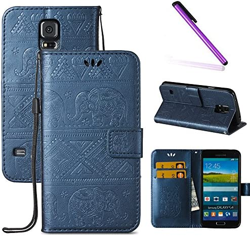 Galaxy S5 Case LEECOCO Fancy 3D Relief Embossed Wallet Case with Card Cash Slots Kickstand Shockproof product image