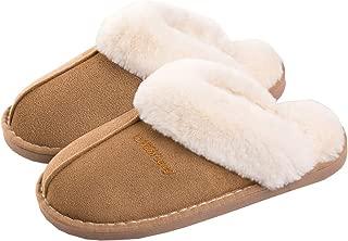 WATMAID Womens/Mens Cotton House Slippers, Bootie Slippers Memory Foam Fleece Lining for Indoor/Outdoor