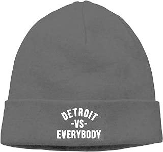Detroit VS Everybody Warm Beanie Hats Unisex Knit Skull CapBlack