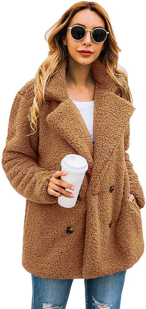 Milky Way Women Coat Casual Lapel Fleece Fuzzy Faux Coats Warm Winter Oversized Outwear Jackets