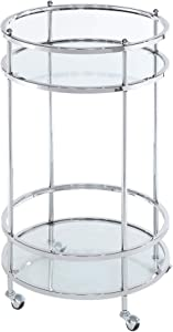 Convenience Concepts Royal Crest Bar Cart With Wheels, Clear Glass / Chrome Frame
