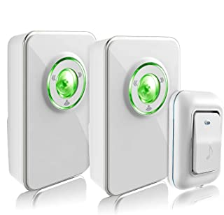 Wireless Doorbell Kit with 2 Receivers and 1 Remote Push Button, Operating at 1000 Ft with 36 Chimes, 3 Level Volume, Green Strobe Light (White Two Receivers)