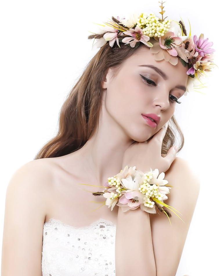 set per matrimonio per donne e bambine Blue Taglia unica Ever Fairy/® fascia per capelli con corona di fiori e fascia per il polso con ghirlanda floreale