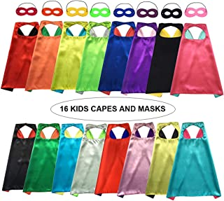 Siiziitoo Double Side Superhero Capes for Kids DIY Capes and Masks Set for Themed Birthday Party Dress Up Costumes Party Supplies (16 Pack)