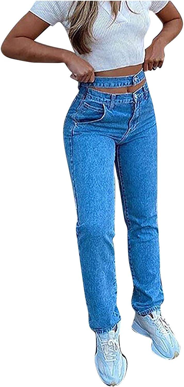 Women Ripped Jeans High Waist Chain Tassel Straight Leg Denim Pants Classic Boyfriend Mom Bootcut Jeans Pants