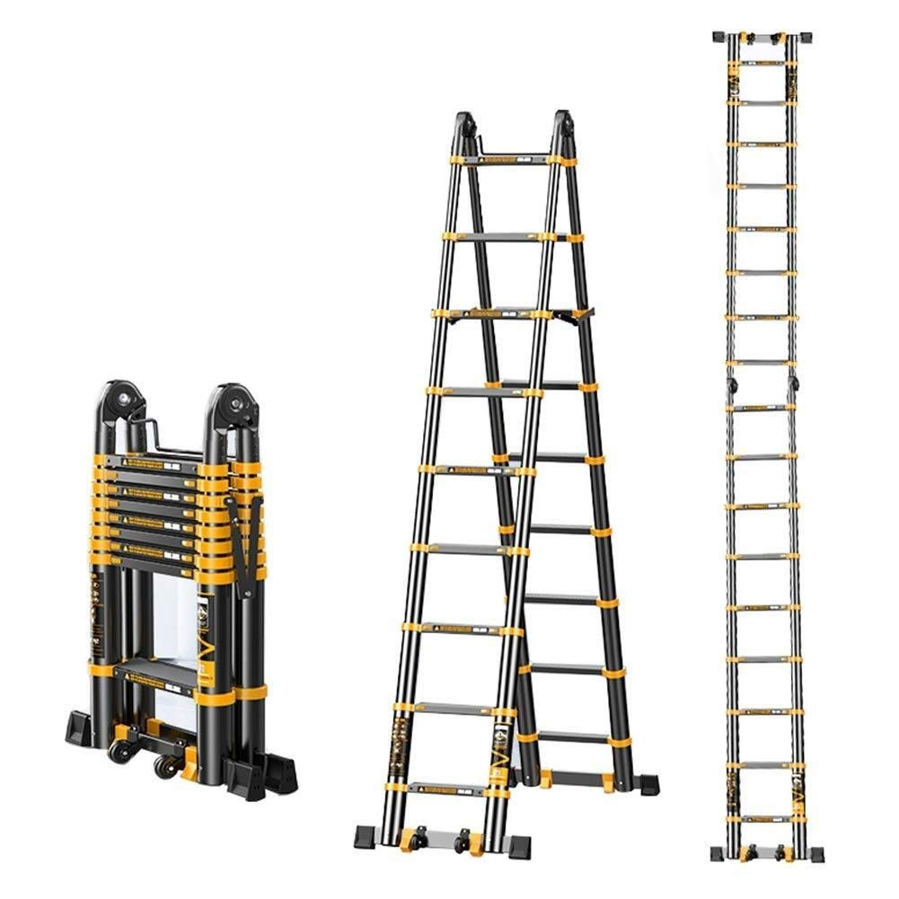 Escalera Telescópica LXLA extensión plegable marco de la escalera A, escalera telescópica de aluminio portátil for bricolaje / Loft / Techo - 150 kg de carga máxima (Tamaño, 16.04ft / 4.89m=2,5 m +: Amazon.es: Hogar