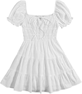 SheIn Women's Short Puff Sleeve Ruched Mini A Line Dress Ruffle Tie Front Square Neck Short Dresses