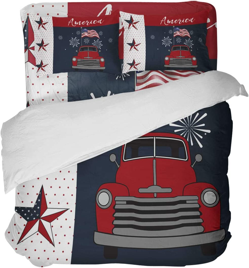LOVE HOME DAY free shipping Farmhouse Truck with Re Flag Bedding Sets Ranking TOP20 American