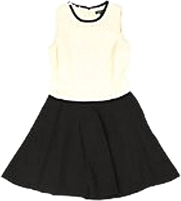 Lauren Ralph Lauren Womens Crepe Colorblock Wear to Work Dress Black-Ivory 16