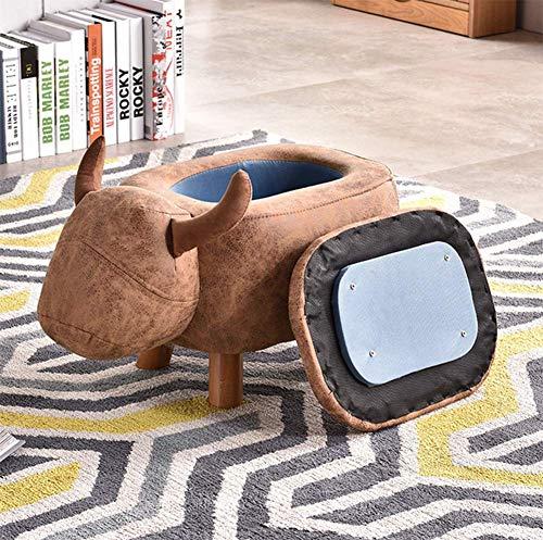 JJZXLQ Taburete Creative Cow Designer Puff Caja de Almacenamiento Taburete de Almacenamiento Asiento para Dormitorio Tapa Extraíble Asiento de Lino/Terciopelo con Patas Madera Maciza,a