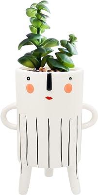 Kusso Keramik Pflanztopf hoch Lady Design mit Gesicht und Streifen schwarz und weiß für Kaktus Sukkulenten Zimmerpflanzen