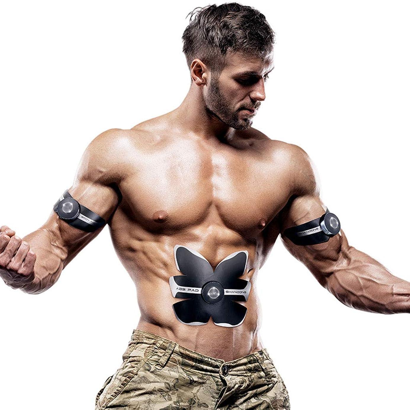 ジャム添加測るフィットネス薄いベルト、男性のスマート腹部腹筋トナーボディービルディング腹部ベルト腹部カラーベルト6腹部筋肉エクササイザ筋肉腹部トレーナー (Color : BLACK, Size : 19*20CM)