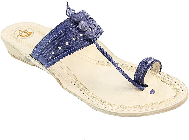 KOLHAPURI CHAPPAL Original Salient Look Dark bluee Platform Heel Ladies Slipper Sandal
