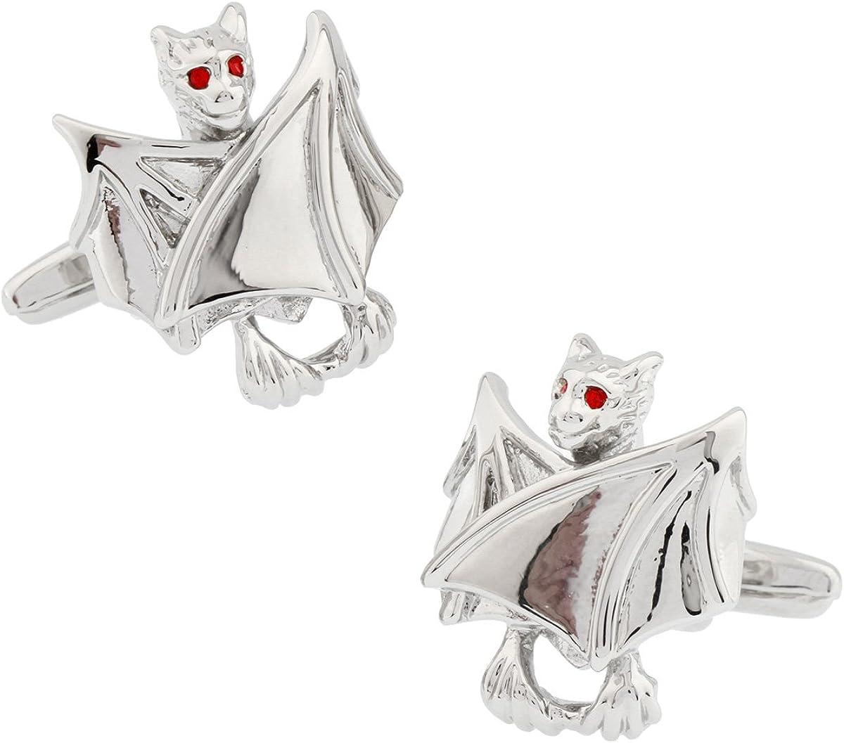 MRCUFF Bat Halloween Vampire Pair Cufflinks in a Presentation Gift Box & Polishing Cloth