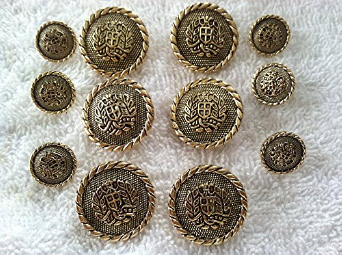 Antiqued Gold Finished ~ Cross Crest Buttons Sets ~ Coats Blazer 12 Pc.(1)