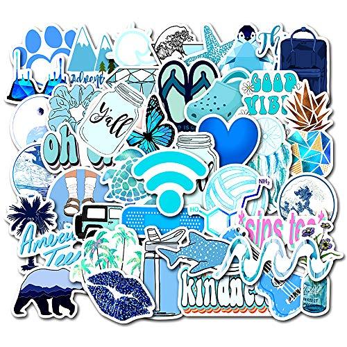 VSCO Vinyl Stickers for Hydro Flask School Water Bottles 50 Pcs Stickers Cool Blue Stickers for Laptop, Phone Case, VSCO Girl Stuff Stickers Kids, Teens, Girls, Boys