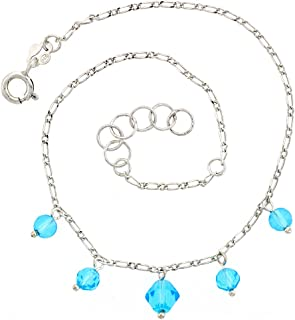 JOSCO Rose Colored Pink Crystals with .925 Sterling Silver Link Anklet Bracelet 7,8,9,10,11,12,13 Inches