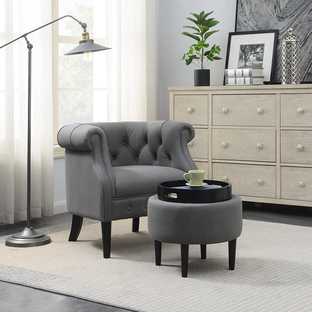 ECLENYES trust Accent Chair with Storage Ottoman Set for latest Footrest