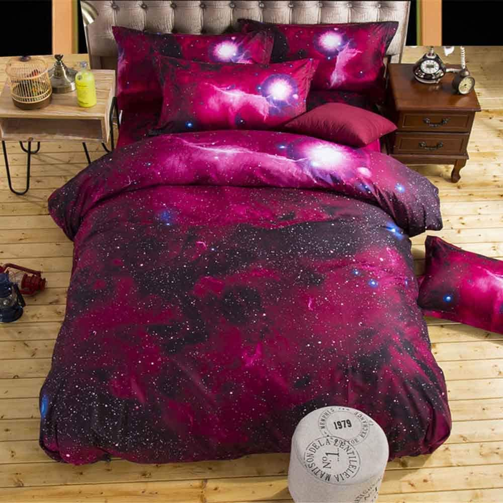 MZPRIDE 3D Printing Galaxy Bedding Set Polyester Cotton Fabric Red Outer Space Pattern Bed Cover Twin