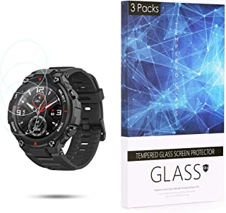 BECROWM 3 Packs Tempered Glass Screen Protector 9H Hardness Protective Glass Compatible with Amazfit T-Rex,2.5D Full Cover...