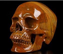 "Skullis 5.0"" Red Jasper Super Realistic Crystal Skull, Hand Carved Gemstone Fine Art Sculpture, Reiki Healing Stone Statu..."