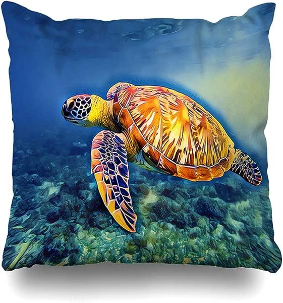Ahawoso Throw Pillow Cover Ecosystem Aquatic Sea Turtle Blue Water Life Digital Activity Vintage Green Bottom Design Dive Home Decor Cushion Case Square Size 20 X20 Inch Decorative Pillowcase