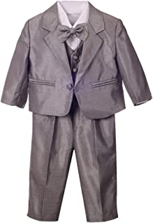 Dressy Daisy Baby Boys' Formal Dress Suit Tuxedo No Tail 5pc Set Wedding Outfits 038