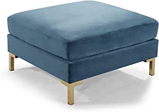 Iconic Home Girardi Modular Chaise Ottoman Coffee Table Cushion Velvet Upholstered Solid Gold Tone Metal Y-Leg Modern Contemporary, Teal